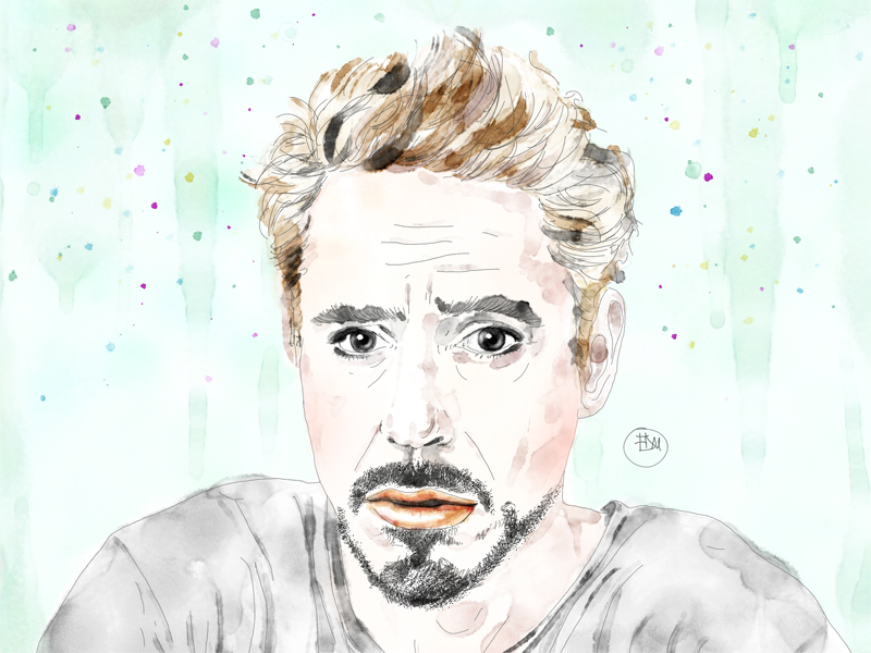 best-robert-downey-jr-portrait-art-watercolor-artist-francesca-di-marco-w-p